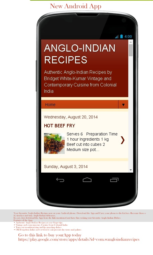 ANGLO-INDIAN RECIPES NOW ON YOUR ANROID PHONE