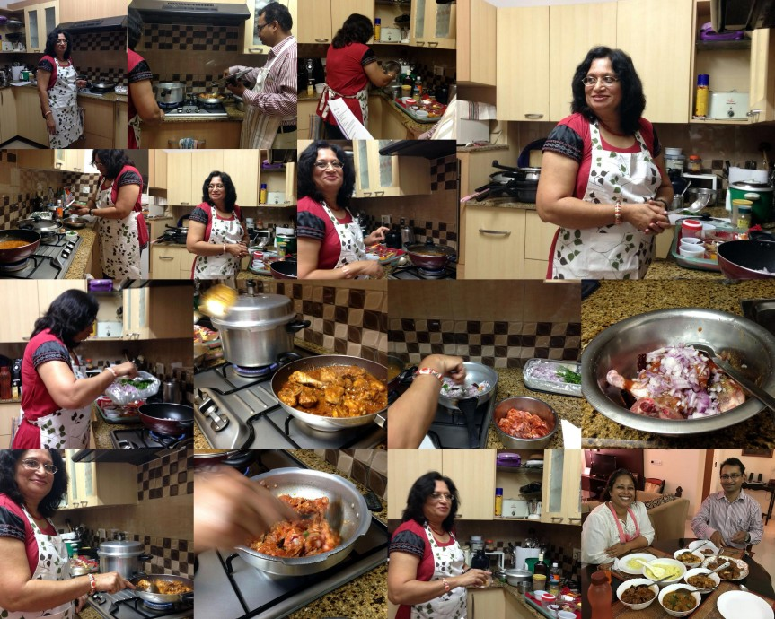 Anu and Robert Cooking Class collage