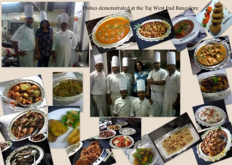 Dishes demonstrated at the Taj West End
