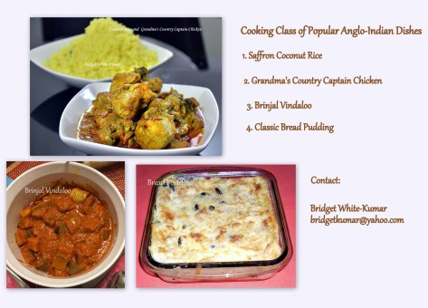 Cooking Class of Popular Anglo-Indian dishes - Coconut Rice, Country captain, Brinjal Vindaloo and Bread Pudding